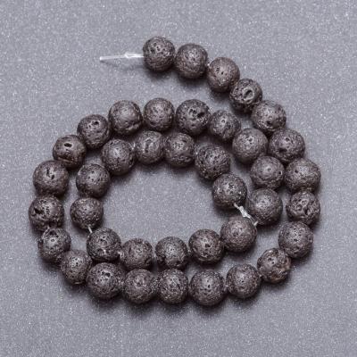 Бусины из натурального камня Лава на нитке, диаметр 10мм, длина 37см