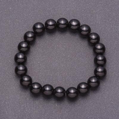 Браслет из натурального черного Агата (пресс) гладкий шарик, диаметр 10мм на резинке обхват 18см