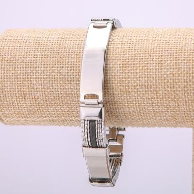 Металлический браслет из нержавеющей стали на застежке, толщина 13мм, длина 21см, цвет металла серебро